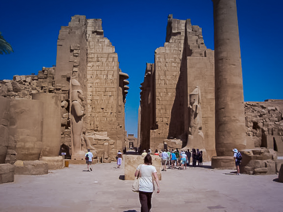 124.Pink granite statues of Ramses II at Karnak