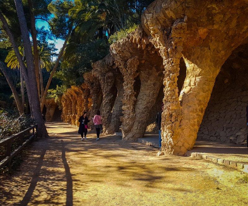 Gaudi designed columns park guell