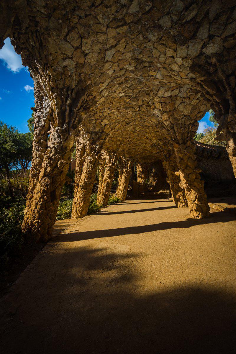 underneath walkways park guell