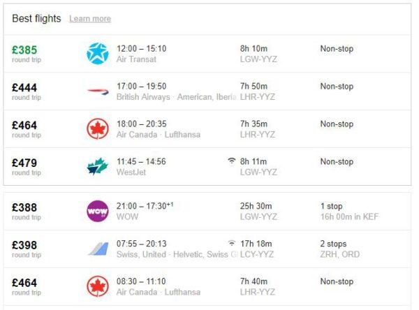 London to Toronto Price Comparison